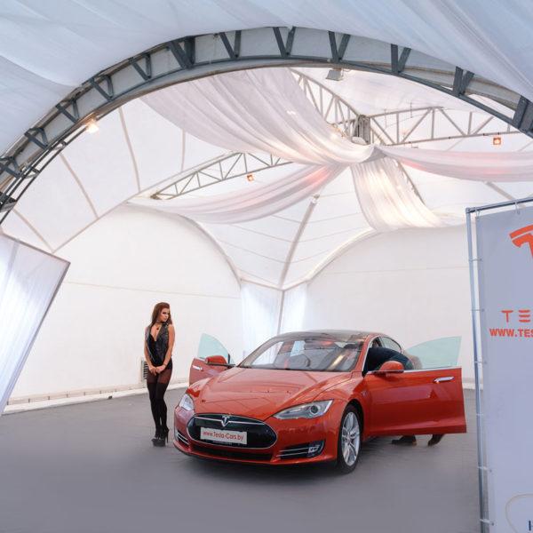 Фотозоны и баннеры для тента Tesla