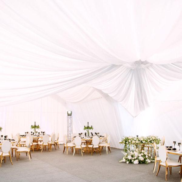 Декор тканью купола и стен