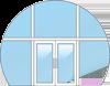 Стеклянная входная группа (алюминиевый стеклопакет с дверью)